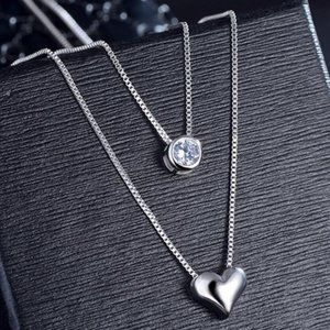 *NEW 925 Sterling Silver Diamond Heart Necklace B